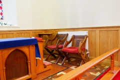 Close up of the Holy Table Chairs